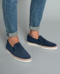 Granatowe loafery z zamszu