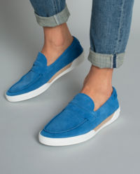 Turkusowe loafery zamszowe