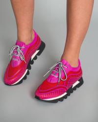 Sneakersy skórzane  z ażurową aplikacją