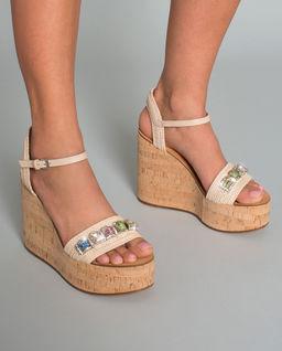 Sandály na klínu Miami  s krystaly