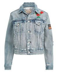 Jeansowa kurtka z naszywkami