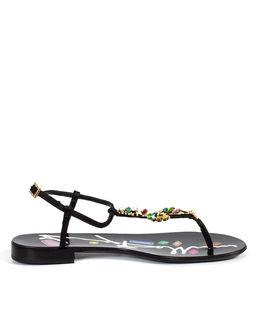 Sandały zamszowe z kryształami