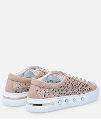 Sneakersy skórzane z ażurowym wzorem