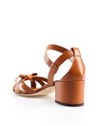 Sandały skórzane na obcasie