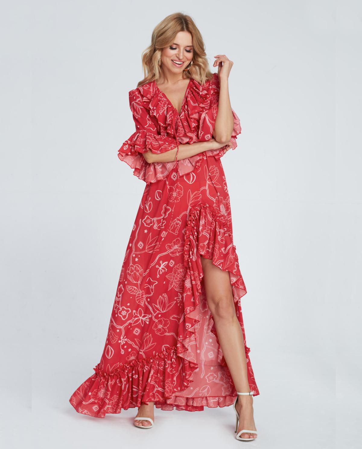 Czerwona sukienka z falbanami aster MAARE – Kup Teraz! Najlepsze ceny i opinie! Sklep Moliera2.com