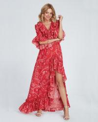Czerwona sukienka z falbanami Aster