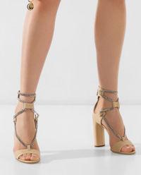 Sandały ze skóry z łańcuchem