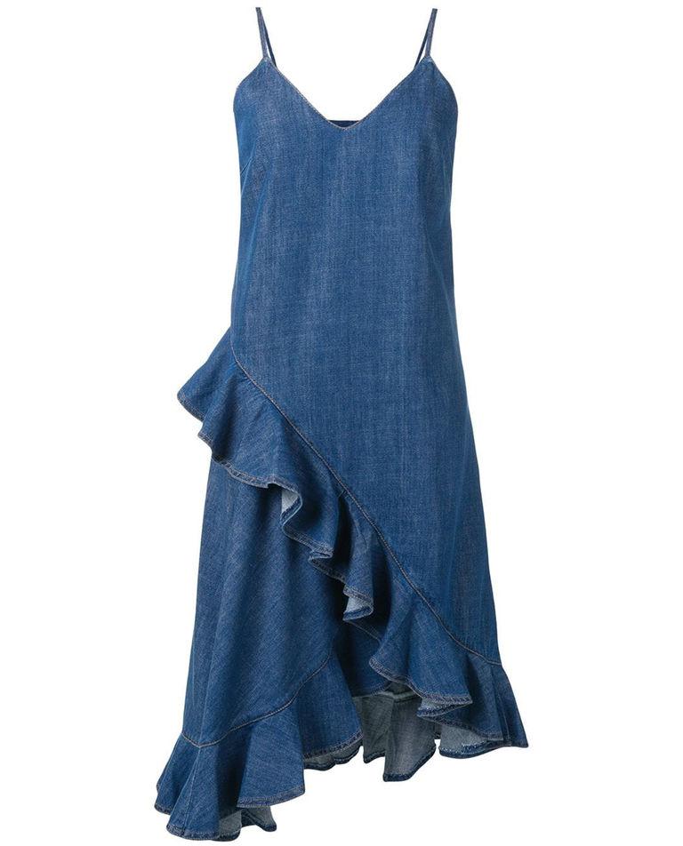 Sukienka jeansowa z falbanką