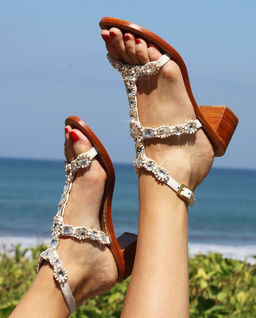 Sandały Corfu z kryształami