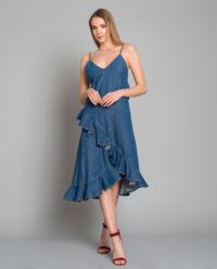 Džinové šaty s volánkem