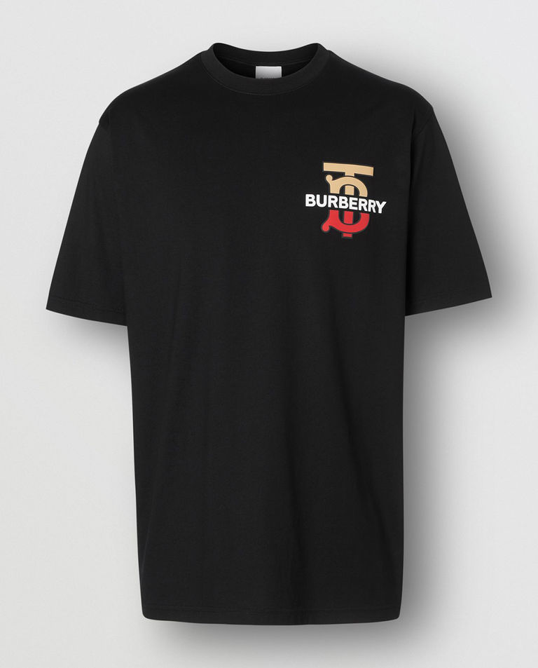T-shirt z monogramem czarny
