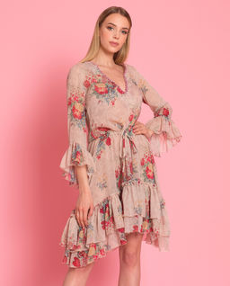 Hedvábné šaty s květinami