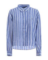 Lněná pruhovaná košile