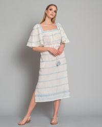 Sukienka w paski z lnem