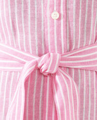 Pruhované lněné šaty