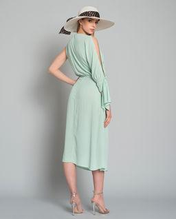 Miętowa sukienka z wiązaniem