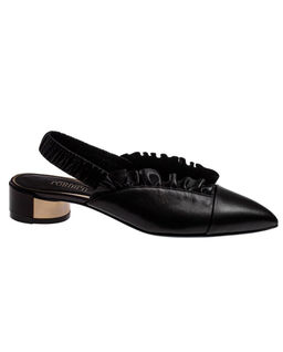 Sandały skórzane z falbanką
