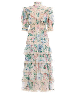Sukienka w kwiaty z jedwabiem