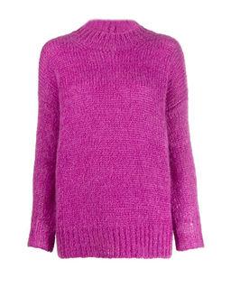 Purpurowy sweter z moheru