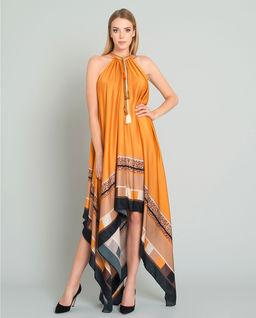 Pomarańczowa sukienka midi