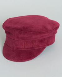 Sametová čepice se štítkem v burgundské barvě