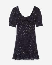 Granatowa sukienka w groszki