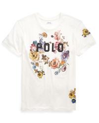 Bílé tričko s květinami