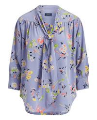 Bluzka w kwiaty z jedwabiu