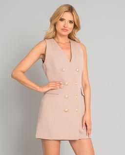Beżowa sukienka z guzikami