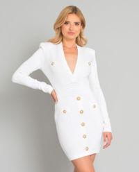 Biała sukienka z dzianiny