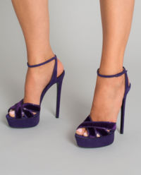 Fioletowe sandały z kryształami