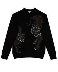 Czarny sweter z tygrysami