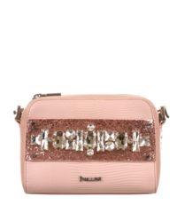 Różowa torebka z kamieniami ozdobnymi