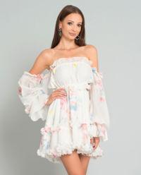 Sukienka jedwabna Margaret White Soft Flowers