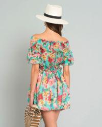Jedwabna sukienka z falbanami Beige Flowers