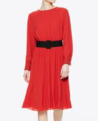 Czerwona midi sukienka z paskiem