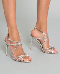Srebrne sandały na szpilce Gin