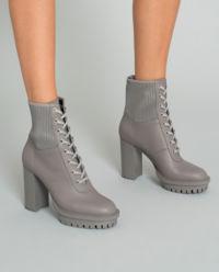 Kožené botky na podpatku