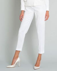 Białe spodnie z zakładkami