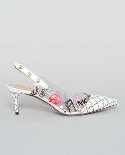 Białe sandały na obcasie Punk