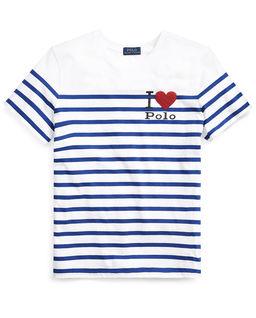 Biała koszulka w paski