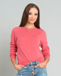 Růžový kašmírový svetr