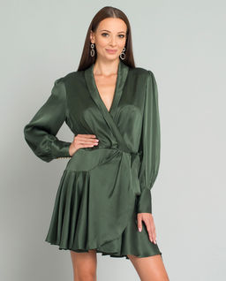Zielona sukienka z jedwabiu