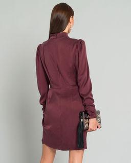 Bordowa sukienka z jedwabiu