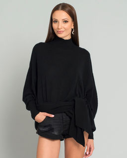 Czarny sweter z domieszką kaszmiru
