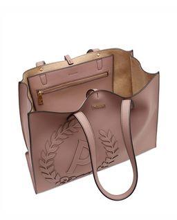 Beżowa torebka shopper  z logo