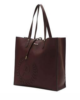 Brązowa torba shopper  z logo