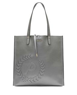 Szara torba shopper  z logo