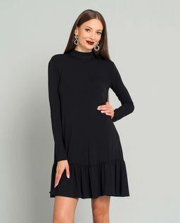 Czarna sukienka mini z falbaną