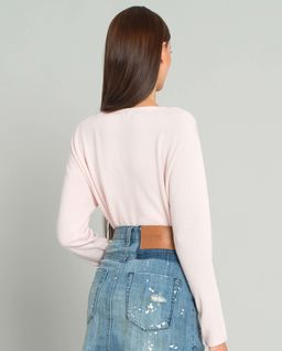 Różowy sweter z wełną